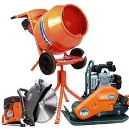Cement Mixer, Disc Cutter & Vibrating Plate Package
